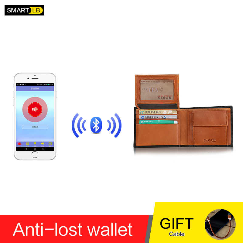 Men Genuine Leather Anti Lost Intelligent Bluetooth Smart  GPS Wallet Purse Male Card Holders Card Case Suit