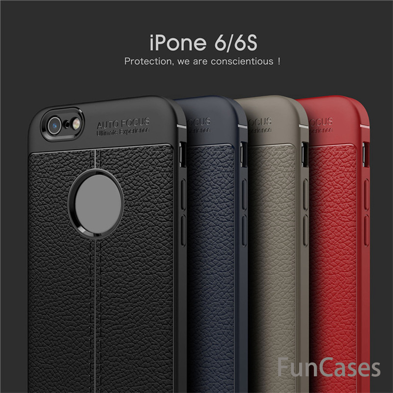 PU Leather Back Case For iPhone 5 6 7 8 S Plus X Soft TPU Luxury Cover Carbon Fiber Capa Cases For iPhone 5 6S 7 8 Plus X