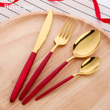 Stainless Steel Flatware Set Gold Cutlery Kitchen Metal Dinnerware