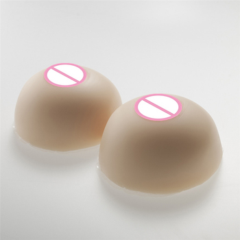 Circular White Silicone Breast 1600g/Pair Shemale Fake Breast Prosthesis Crossdresser Simulation Boobs White Box Packaging