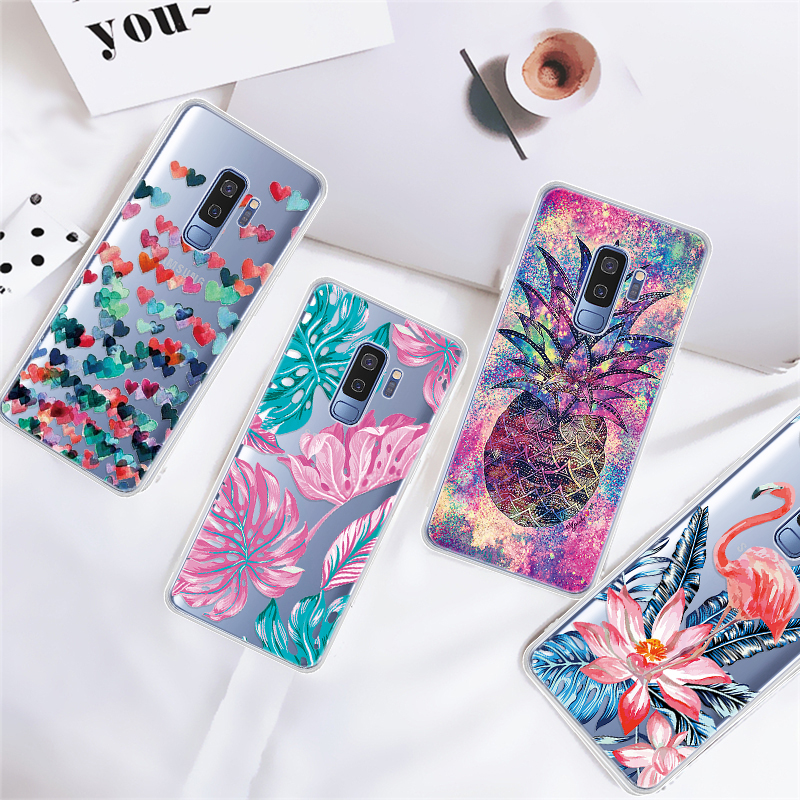 Transparent Silicone Pattern Phone <font><b>Case</b></font> For Samsung A10 A20 A30 A40 <font><b>A50</b></font> A60 A70 M10 M20 M30 S9 Plus Shining <font><b>Cartoon</b></font> Shell image