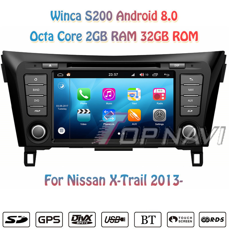 Topnavi 8 Octa Core S200 Android 8.0 Car DVD Multimedia Player for Nissan 2014 Qashqai Audio Radio Stereo 2DIN GPS Navigation