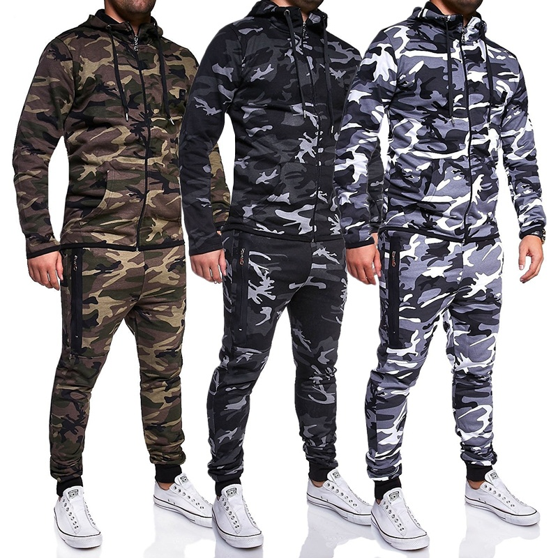 ZOGAA 2018 New Mens Tracksuit Casual Sport Camouflage Tracksuits Hoodies And Sport Pants Casual Tracksuitr Hoodie For Mens