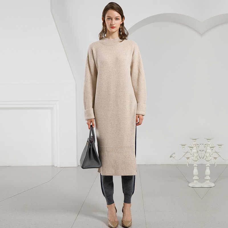 93d5ac1852a Women Winter Warm Knitted Dresses 100% Cashmere Dress Long Sleeve  Turtleneck Loose Jumper Thick Fall