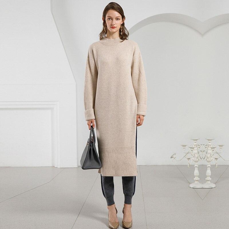 Femmes Hiver Chaud Tricoté Robes 100% Cachemire Robe À Manches Longues Col Roulé Lâche Jumper Épais Automne Chandail Robes Pour Femmes
