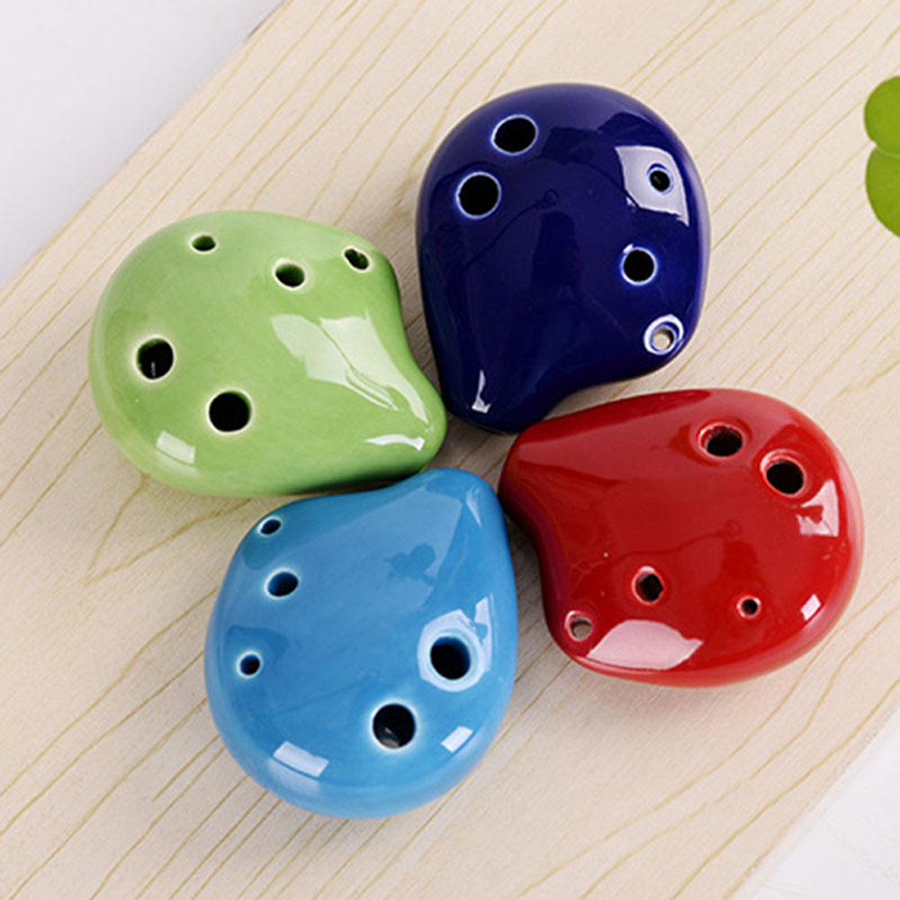 Hot Sale New 1pcs Random Color Mini Handmade Ceramic C Key 6 Hole Ocarina Educational Musical Instruments Students' Toy