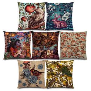 New Dark Magic Augury Bird Flowers Three Eyes Raven Steampunk Hummingbird Night Princess Owl Lion Cushion Cover Pillow Case(China)