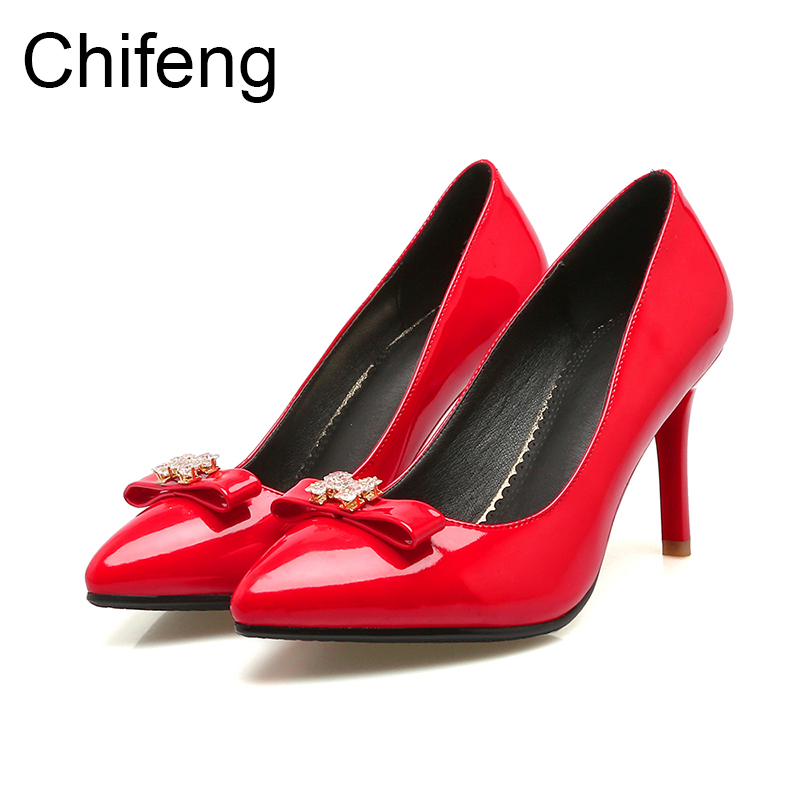 womens shoes mary jane women Pumps pointed stiletto heels casual shoe womens fashion spring autumn 2017 new woman red high heels