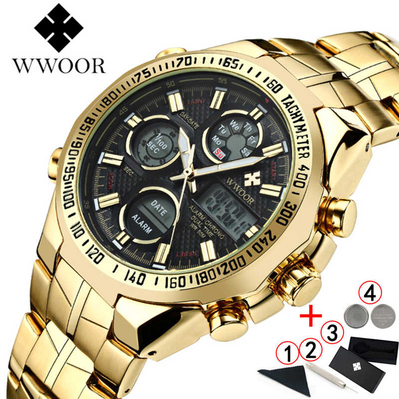 WWOOR Relogio Masculino Top Brand Luxury Watch Mens Watches Golden Stainless Steel Military Wristwatch Big Dial Clock Male 2019