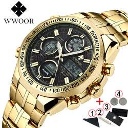 Wwoor relogio masculino marca superior relógio de luxo dos homens relógios ouro aço inoxidável militar relógio de pulso grande dial masculino 2019