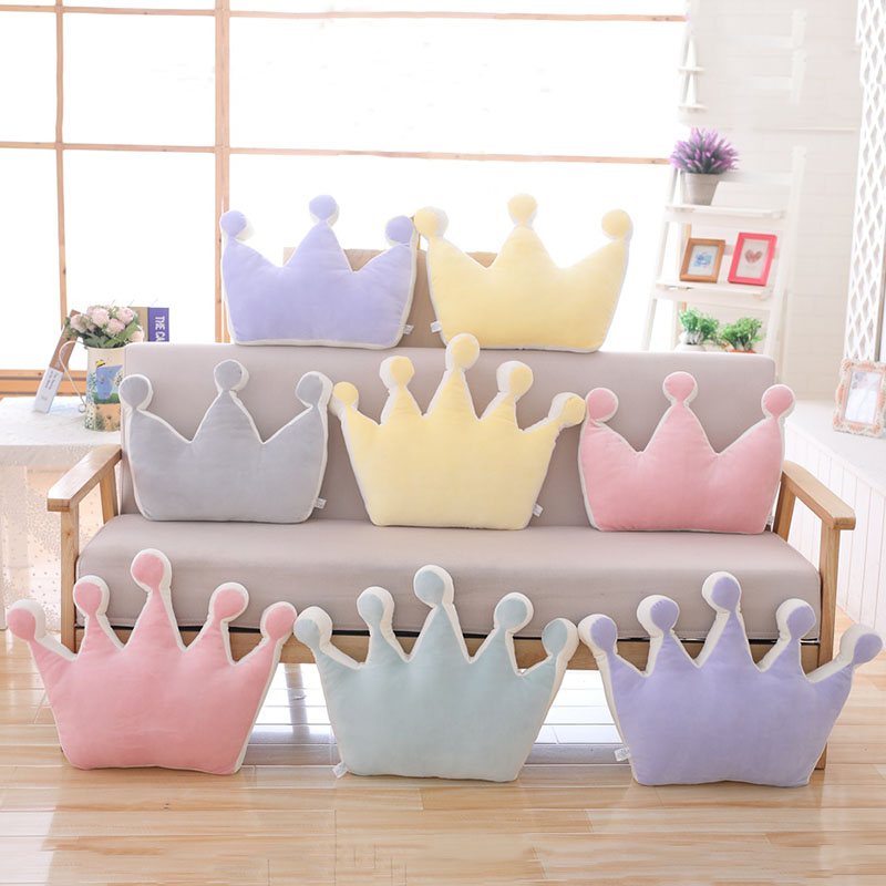 Crown Plush Pillow Colorful Stuffed Soft Plush Crown Toy Home Sofa Decoration Cushion Kids Toys Birthday Gift For Girlfriend