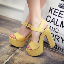 15cm High Heels Platform Peep Toe Sandals Suede Chunky Heel Casual Buckle Shoes Summer 2016 Beige Black