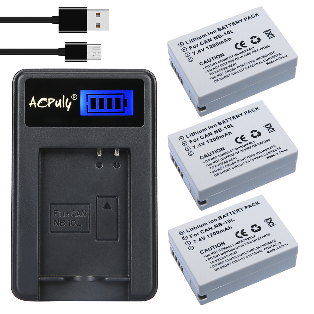 New 3pcs 7.4V 1200Ah NB 10L NB10L Camera Battery + LCD USB Charger for Canon G1X G15 G16 SX40HS SX50HS SX60HS SX40 SX50 SX60 HS