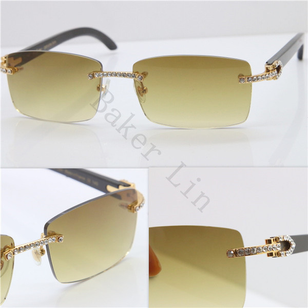 497788c4ef ... Cartier Rimless Smaller Big Stones 3524012A Original Black Buffalo Horn  Sunglasses in Gold Brown Lens ...