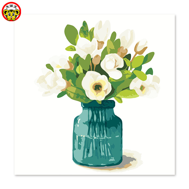 Painting By Numbers Art Paint Number Gardenia Vase Green Flower Arrangement Draw On Canvas Digital
