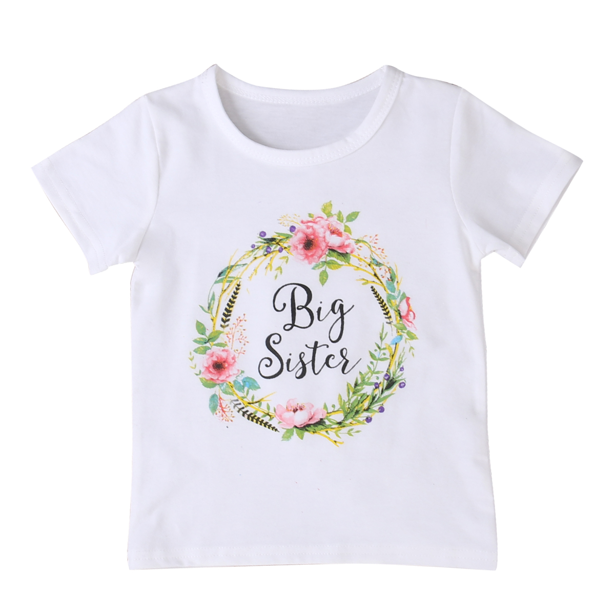 Girls T-Shirts Short Sleeve Flower Outfits T Shirt Baby Kid Girl Clothes Tops Cotton Clothes