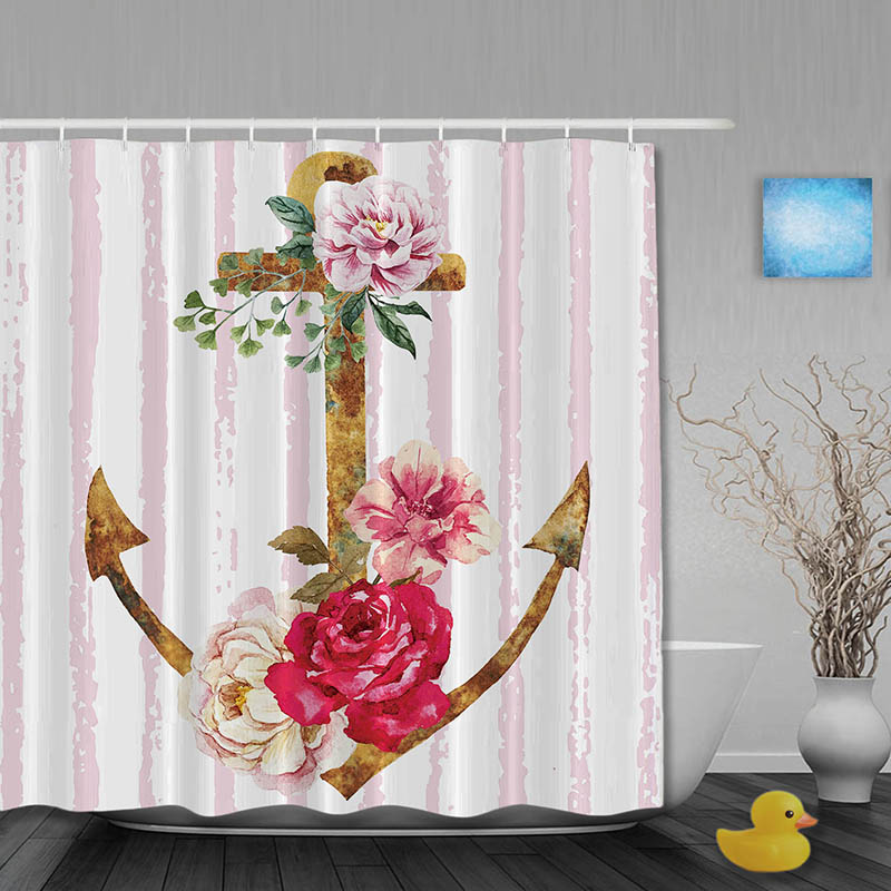 vintage shower curtains vintage rustic anchor shower curtain folwers bathroom 29059