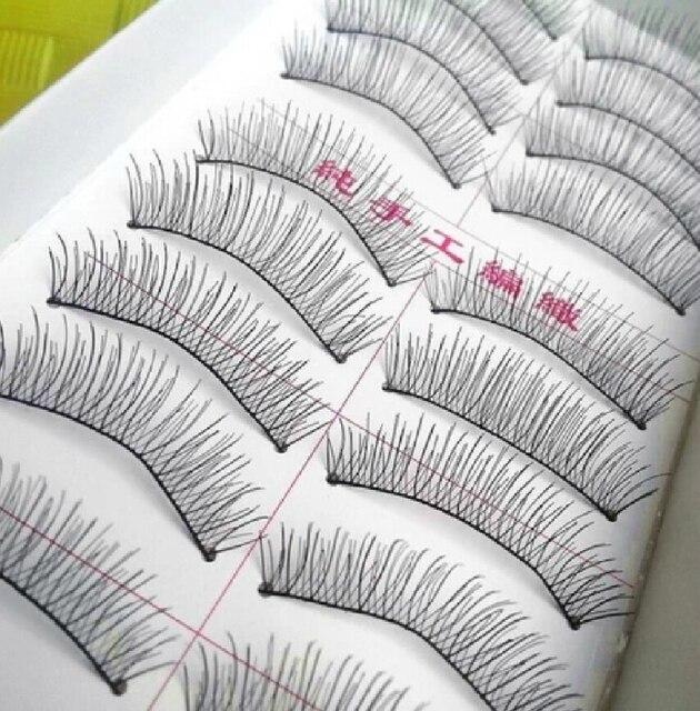 217 algodón tallo Pestañas postizas natural hecho a mano cómodo nude cosmética Pestañas postizas cosmética alargamiento Pestañas postizas