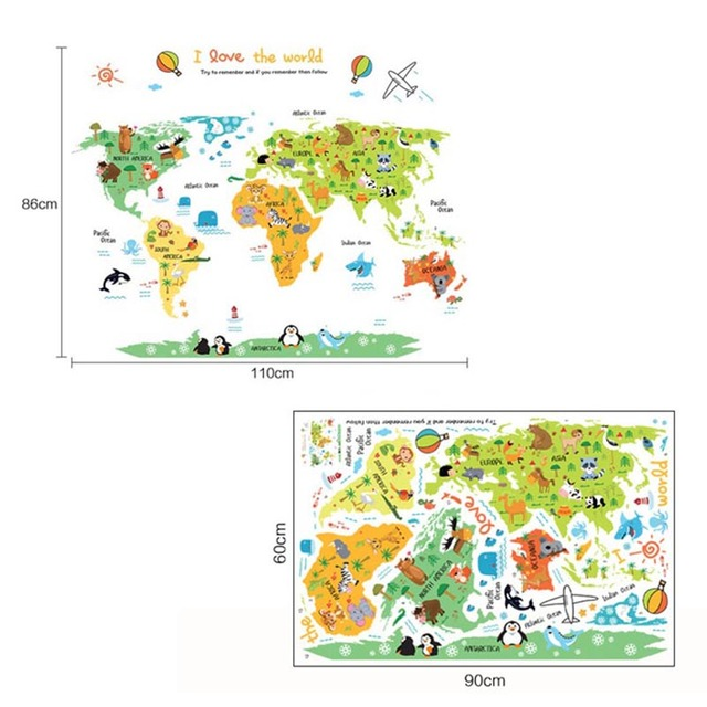 Cartoon Safari Animals World Map Nursery Wall Stickers For Kids Room  Decoration Letters Global Maps XHC88