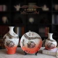 장미 세 조각 도매 유럽 스타일의 세라믹 꽃병 장식품 홈 장식