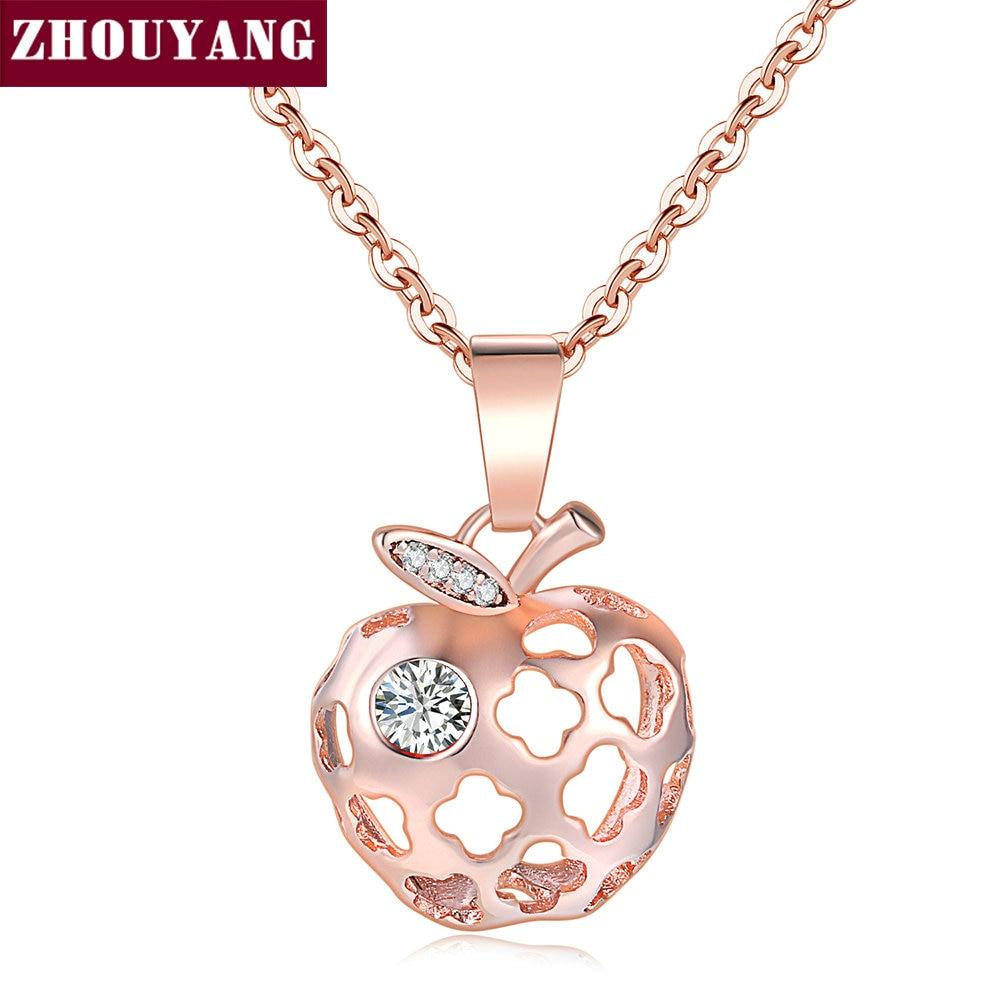 Delicate Hollow Out Apple Shape RoseGold Color Pendant Necklace Fashion Jewelry Wholesale ZYN619 ZYN620 ZYN621 ZYN622