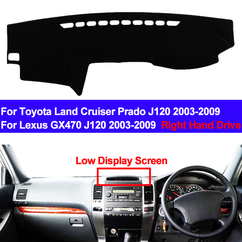 TAIJS RHD Car Dashboard Cover Dash Mat For Toyota Land Cruiser Prado J120 2003 - 2009 Lexus GX470 J120 2003 - 2009 DashMat Pad