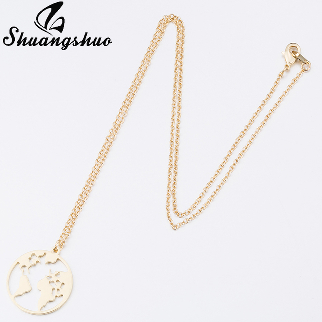Shuangshuo Vintage Origami World Map Necklace Women Geometric Necklace Round Necklace Circle Necklaces & Pendants Choker Jewelry 4