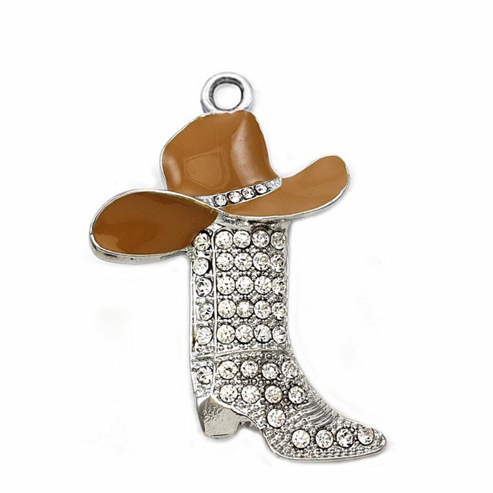 classic ef2ea afd71 US $9.99 |Factory New Fashion Alloy Silver Plating Orange Cap Hat High  Heels Dallas Cowboys And Girls Boots Shoe Pendants For Men Or Women-in  Charms ...