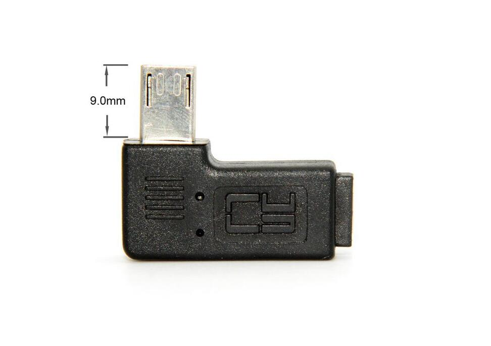 100Pcs MICRO USB Adpter 9mm Long Connector 90 Degree Left Right Angled Micro USB 5Pin Male