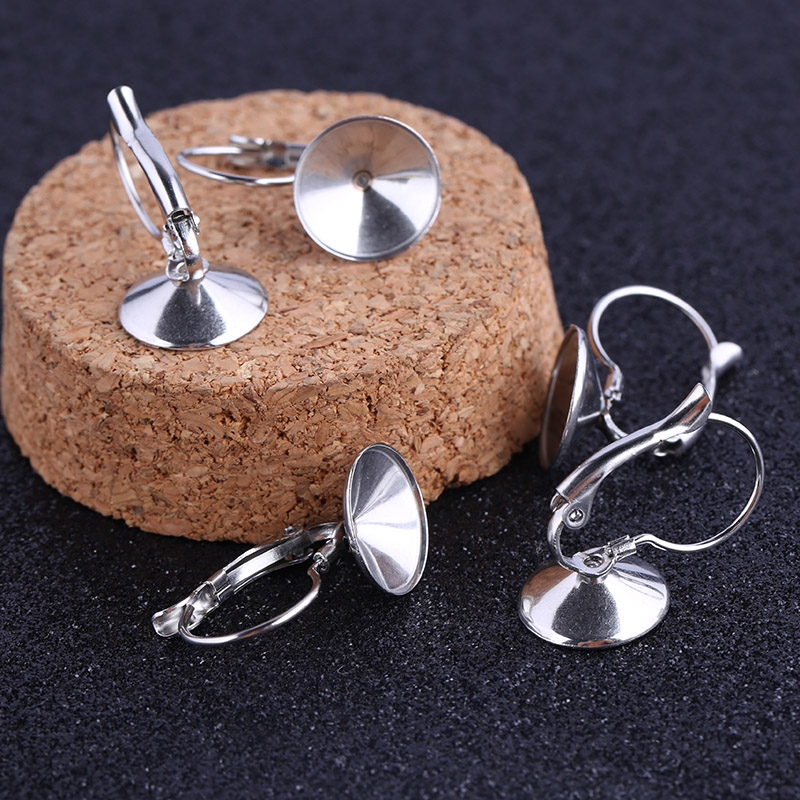 Reidgaller 10pcs Stainless Steel Fit 12mm Rivoli Stone Lever Back Earring Findings Diy Blank Earring Accessories  For Making
