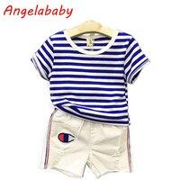 2017 Sıcak Satış Bebek çocuk Yaz Yeni Boys Kore O-Boyun Çizgili T-shirt + Denim Şort 2 Adet Çocuk Giyim Set