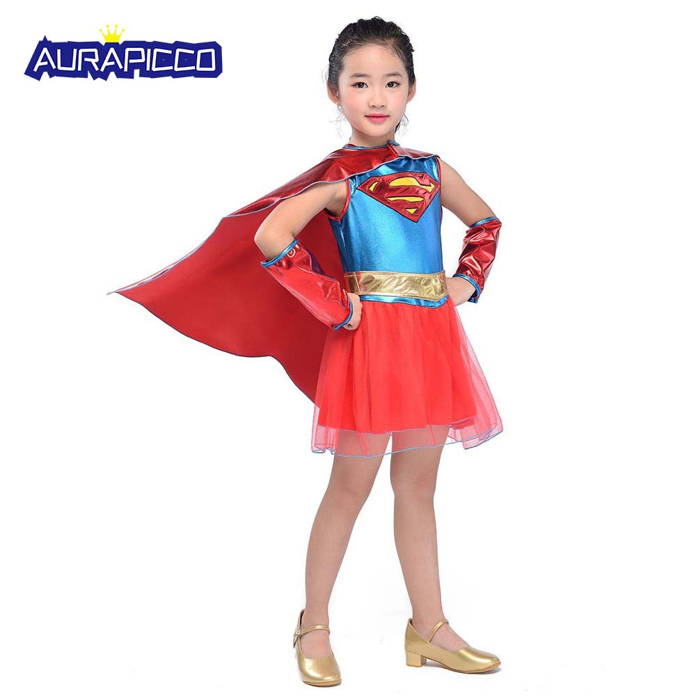 Supergirl Superman Womens Costume DC comics Marvel Superhero Fancy Dress outfit