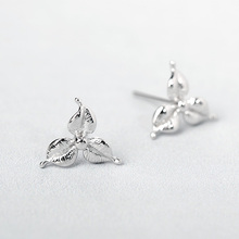 Funmor Flower Plant Stud 925 Sterling Silver Earrings Simple Ear Jewelry For Women Girls Daily Vacation Summer Decoration Bijoux