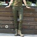 Freearmy Марка женщины повседневные брюки Повседневная Карманы Тощий Карандаш сексуальные брюки slim fit брюки army green leggingsTrousers GK-9508A