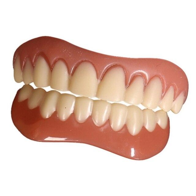 Nuevos dientes comodidad ajuste flexible cosméticos dientes dentadura dientes superior cosmética chapa simulaciones