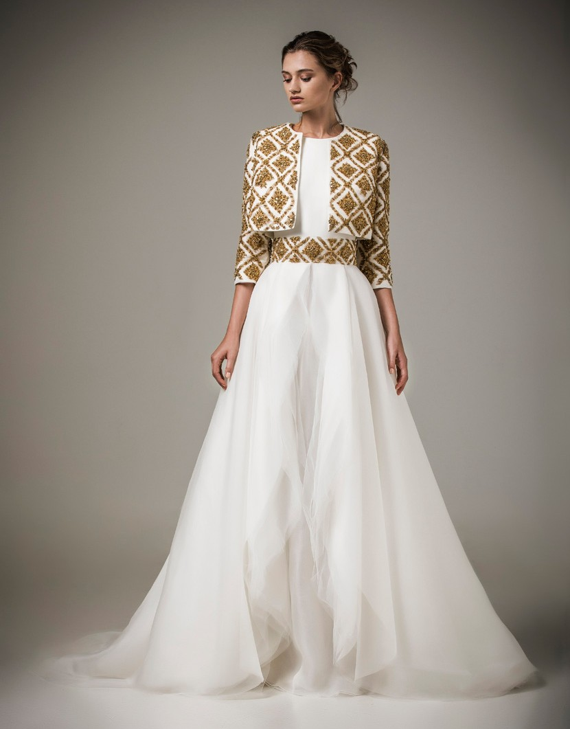Long White Evening Dress with 3 4 Sleeves