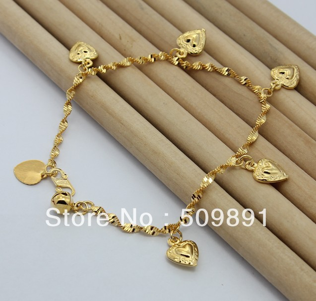 Ba1180 High Fashion 24 Carat Gold Plated Beads Hearts Charms Bracelets Bangles Por Jewelry Top Quality Free Shipping In Charm From