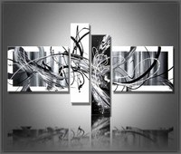 Multi Piece Combination 4 Pcs Set Canvas Art Abstract Oil Painting Black And White Wall Hand