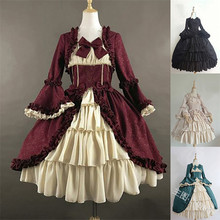 цены Women Fashion 4 Colors Long Sleeve Cotton Classic Lolita Dress Sweet Cute Frill Frock Dress Girls Anime Cosplay Costume Plus Siz
