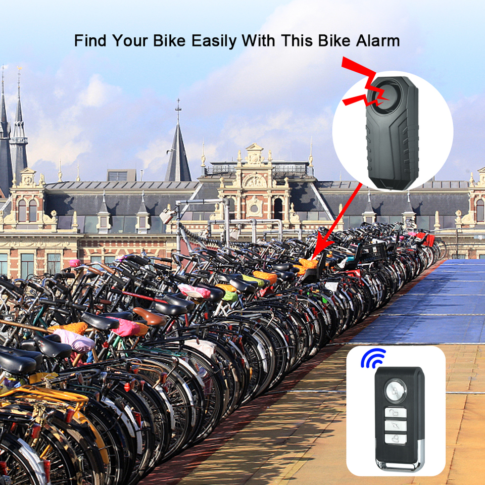 Hakeeta Alarm Bike Lock Wireless Alarm Lock 115dB Bicycle Bike Motorcycle IP55 Waterproof Dust-Proof Security Lock with Steel Cable Chain Keyless Password or Remote Control for Indoor /& Outdoor Use.