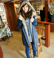 2016 Winter Plush liner thickening long cotton denim jacket Womens Collar Hooded Jacket Lady's Casual Coat Warm Outerwear