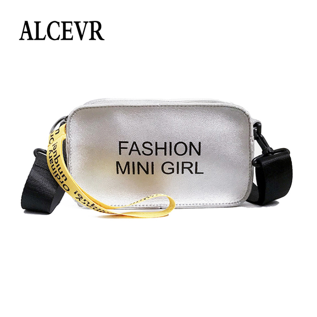 d9812c872e ALCEVR Letter Printing Solid Color Pu Leather Flap Simple Style Crossbody Bags  Women Girls Wave Strap All-Match Cell Phone Bag