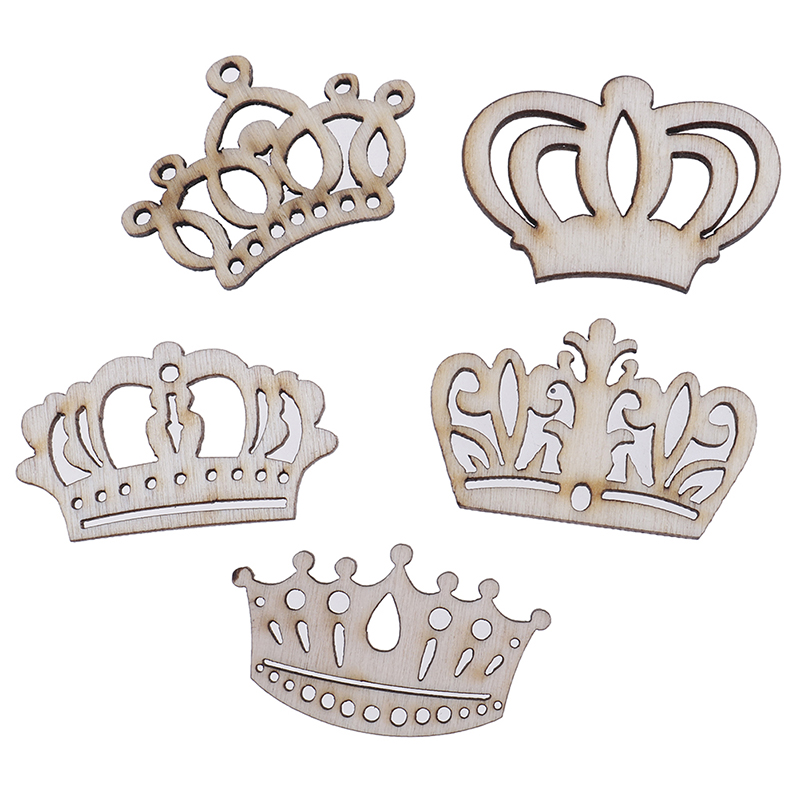 50pcs Wood Crowns DIY Decoration Gift Decoupage Scrapbooking Wrapping Box Tags  Mini Wooden Crown Craft Shapes