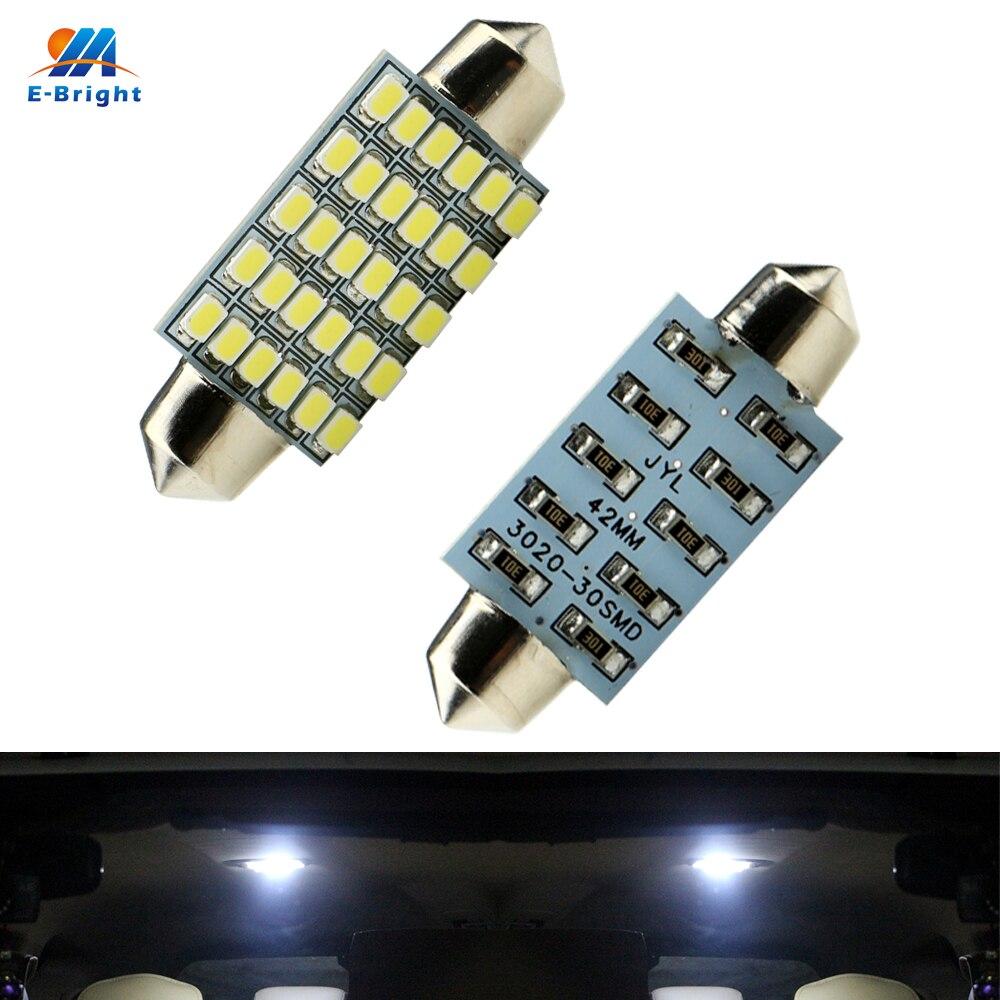 YM E Bright 100 PCS C5W Car Led 42mm 3020 30 SMD 30LED 6000K Bulbs For