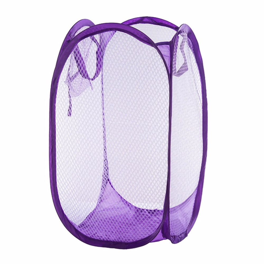 Foldable Practical Pop Up Washing Clothes Laundry Basket Solid Color Mesh Dirty Clothes Storage Basket Bag For Household Using
