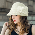 2017 Spring New Fashion White Pink Linen Hat Vintage Wide Brimmed Banquet Cap Woman Sun Straw Hats