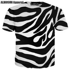 ff11ebc7 ALMOSUN Zebra Line Stripe Pattern 3D All Over Printed T Shirts Short Sleeve  Funny Summer Hipster