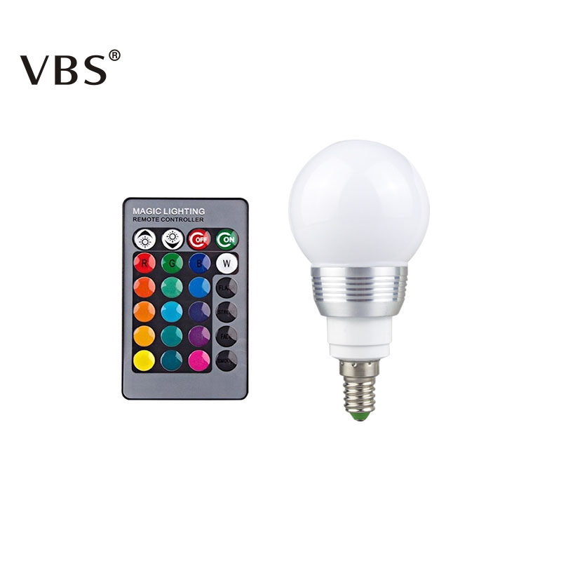 LED RGB Bulb E14 E27 LED Lamp Color Changing Spotlight Light With 24 Key Remote Controller For Home Decoration With Memory