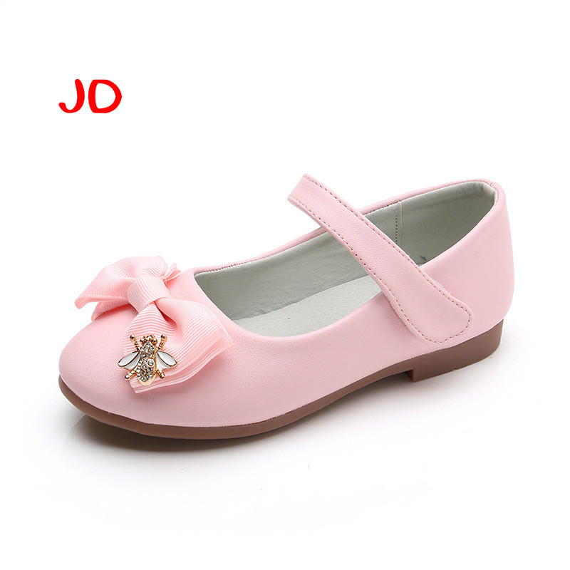 Girls PU Low Heel Flower Kids Shoes For Girls Single Shoes Dance Dress shoe White Pink Children Party Leather Shoes