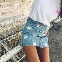 Momoluna 2017 Woman Star Print Denim Button High Waist Skirts Womens Jupe Faldas Etek Jeans Rokken